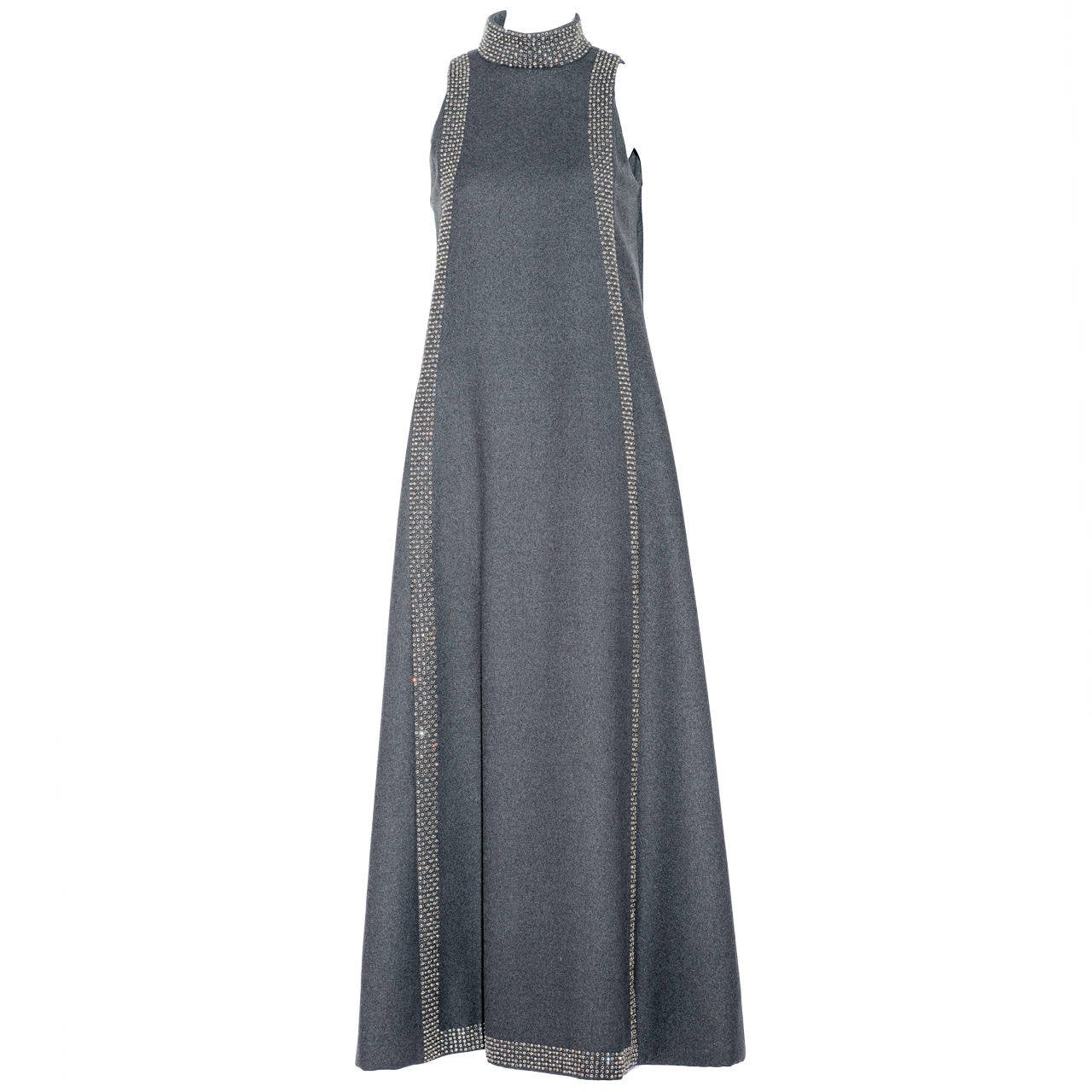 1960s Geoffrey Beene Museum Grey Sleeveles Wool Dress with Rhinestones Colla