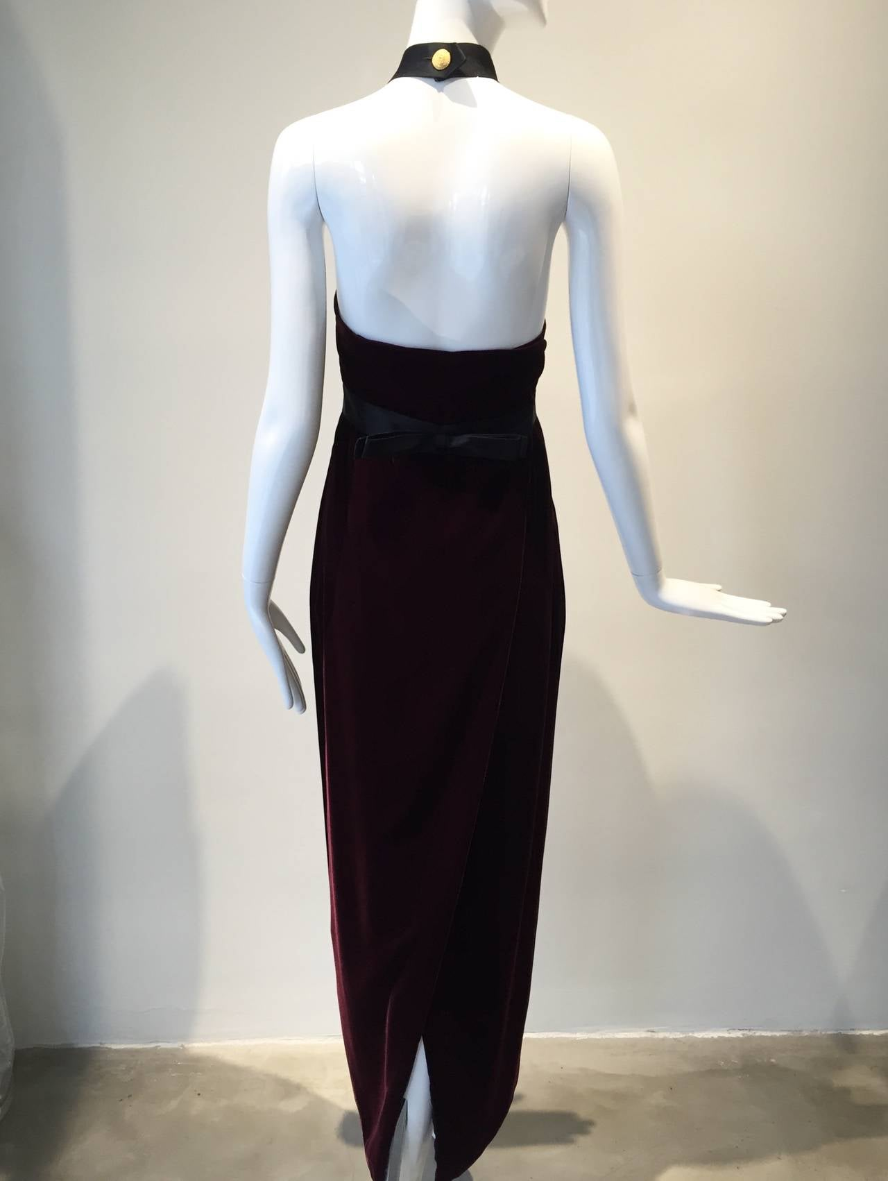 1990s Chanel burgundy velvet halter gown For Sale 1