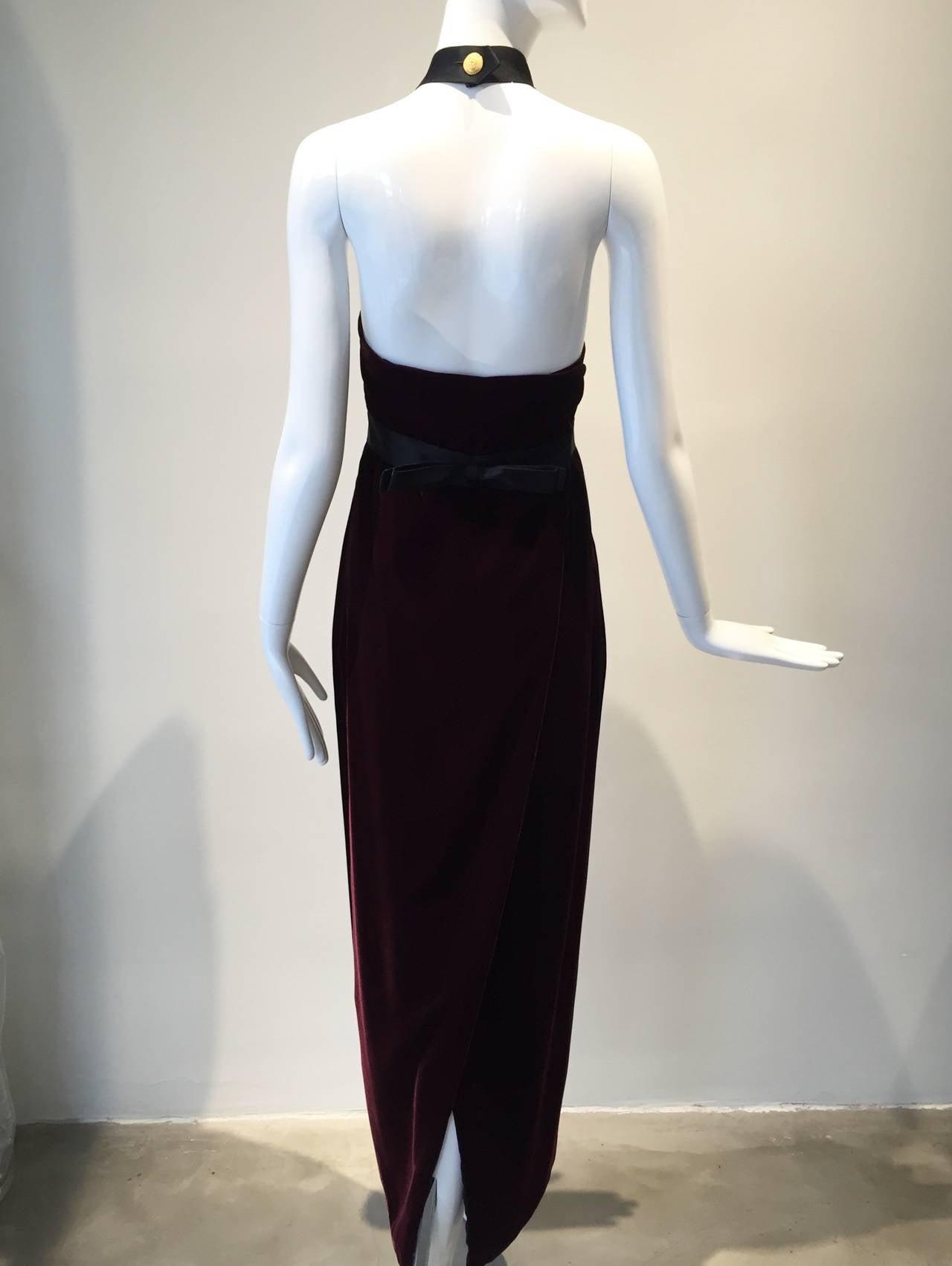 1990s Chanel burgundy velvet halter gown 6