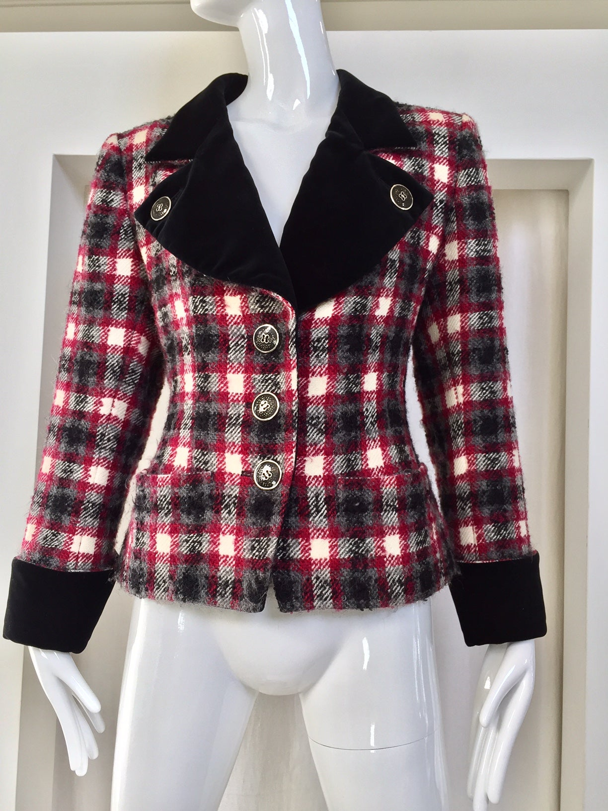 1bf8b54b585 Vintage Yves Saint Laurent rive gauche red and grey fitted jacket For Sale  at 1stdibs