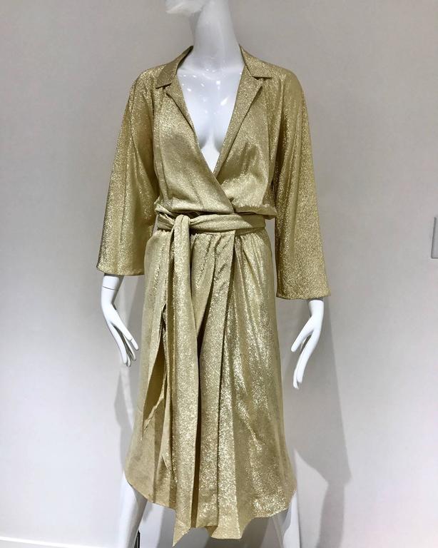 Vintage 1970s Halston Gold Metallic Lame 70s Wrap Cocktail