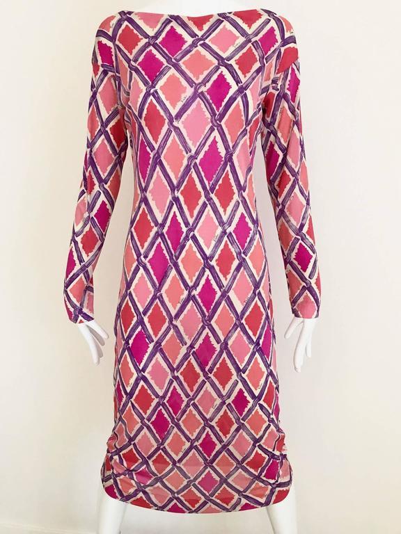 1960s PUCCI Pink and Puple Geometric Diamond Shape Print Jersey Dress 2
