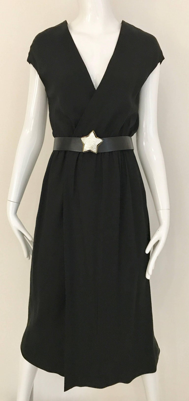 Vintage 1970s HALSTON Black Silk V Neck Wrap Dress  In Excellent Condition For Sale In Beverly Hills, CA