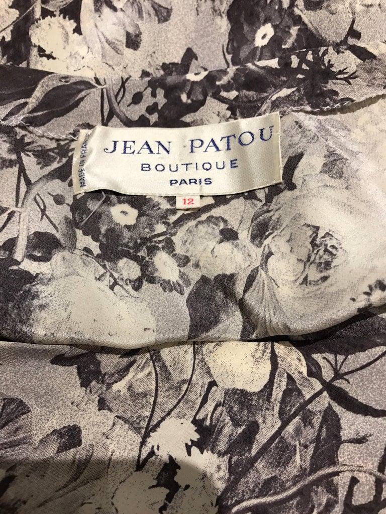 Beige Jean Patou Grey Floral Print One Shoulder Silk Dress, 1970s  For Sale
