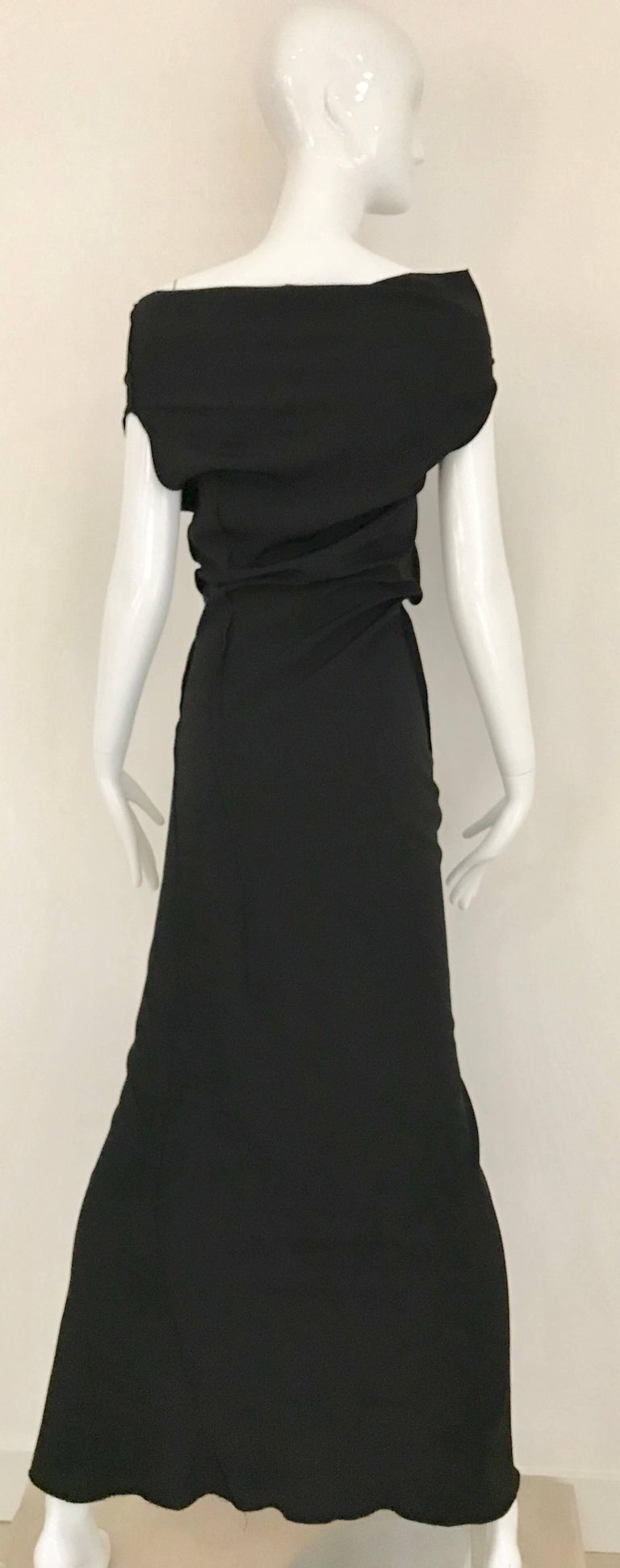 Vintage JIL SANDER Black Silk Dress  3