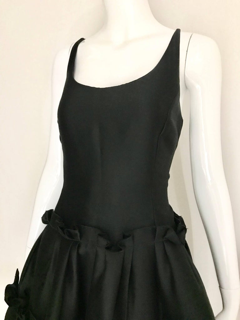 Women's Oscar De La Renta Black Silk Cocktail Dress  For Sale