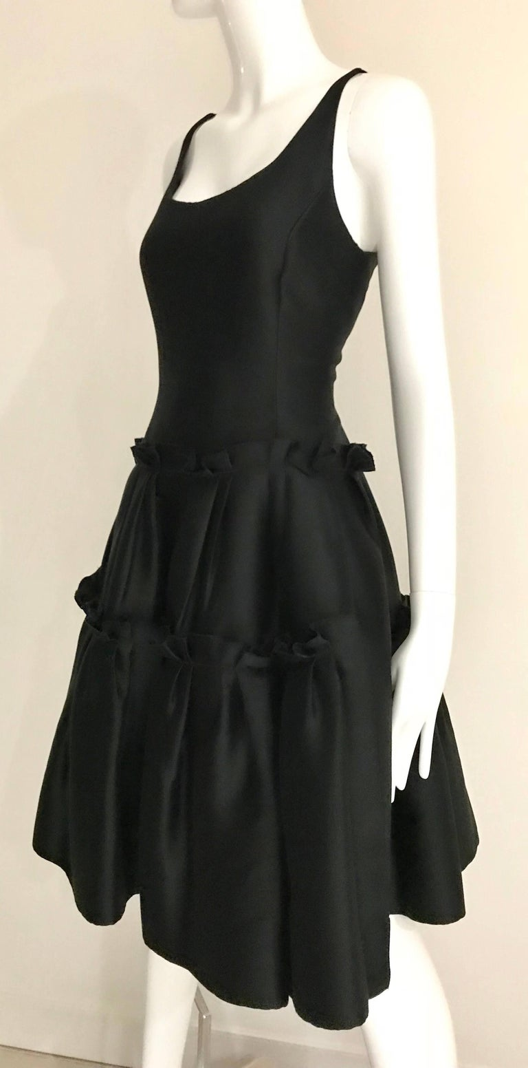 Oscar De La Renta Black Silk Cocktail Dress  For Sale 1