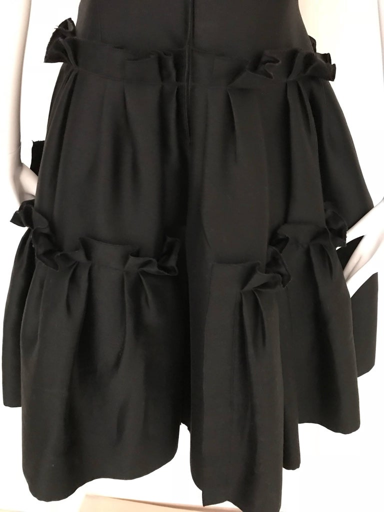 Oscar De La Renta Black Silk Cocktail Dress  For Sale 2