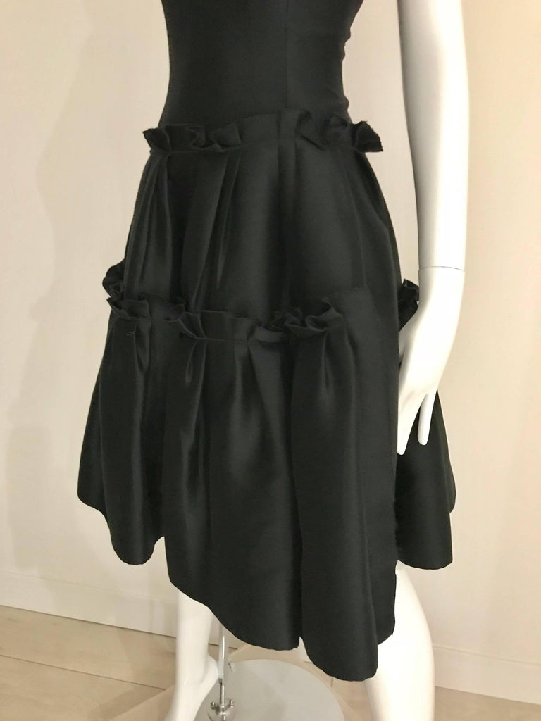 Oscar De La Renta Black Silk Cocktail Dress  For Sale 3