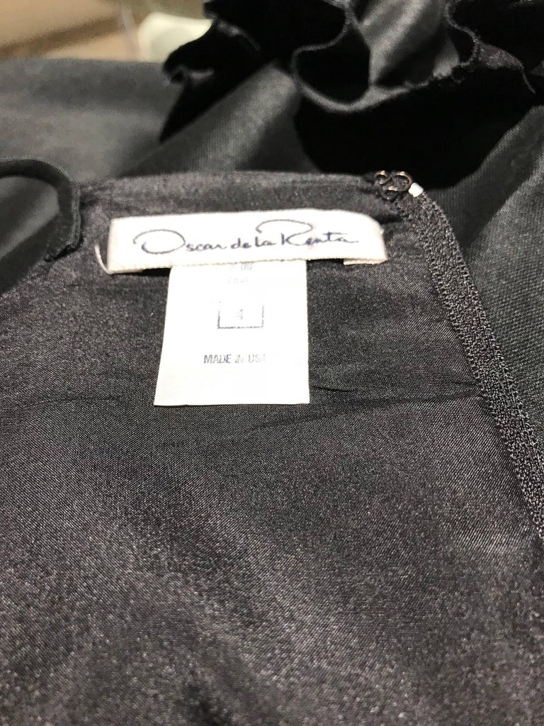 Oscar De La Renta Black Silk Cocktail Dress  For Sale 4