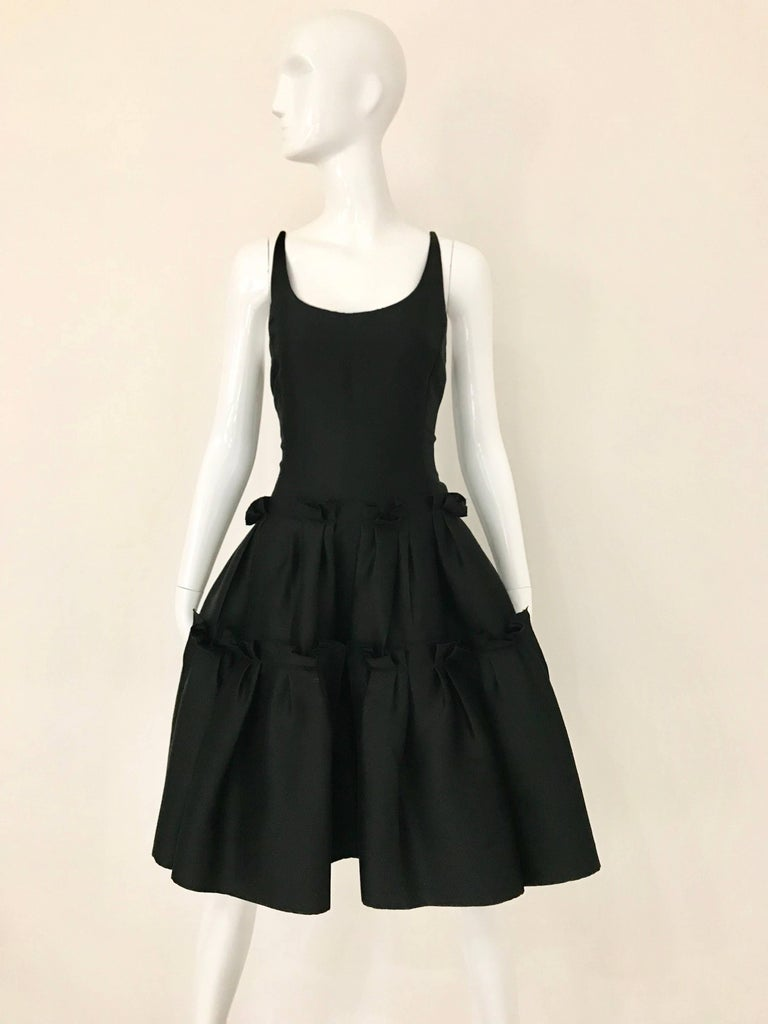 Oscar De La Renta Black Silk Cocktail Dress  For Sale 6