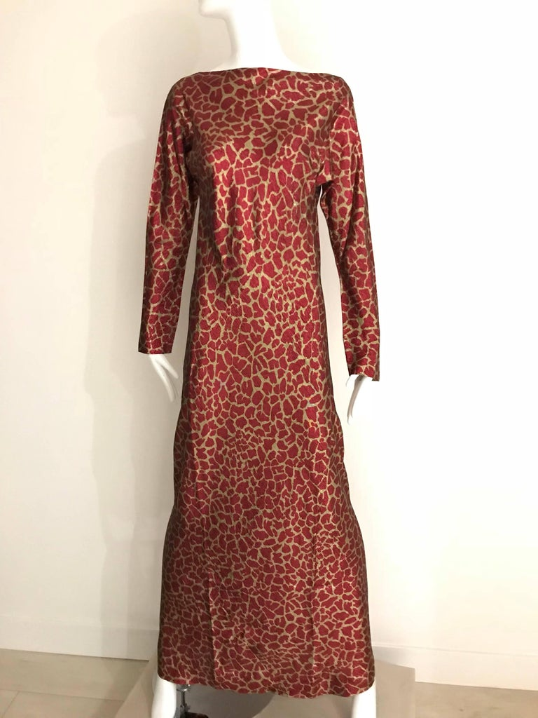 HALSTON 1970s Red and Gold Metallic Print Silk Lamè Bias Cut Dress 5