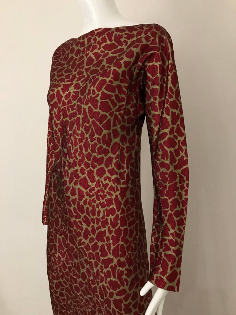 HALSTON 1970s Red and Gold Metallic Print Silk Lamè Bias Cut Dress In Good Condition For Sale In Beverly Hills, CA