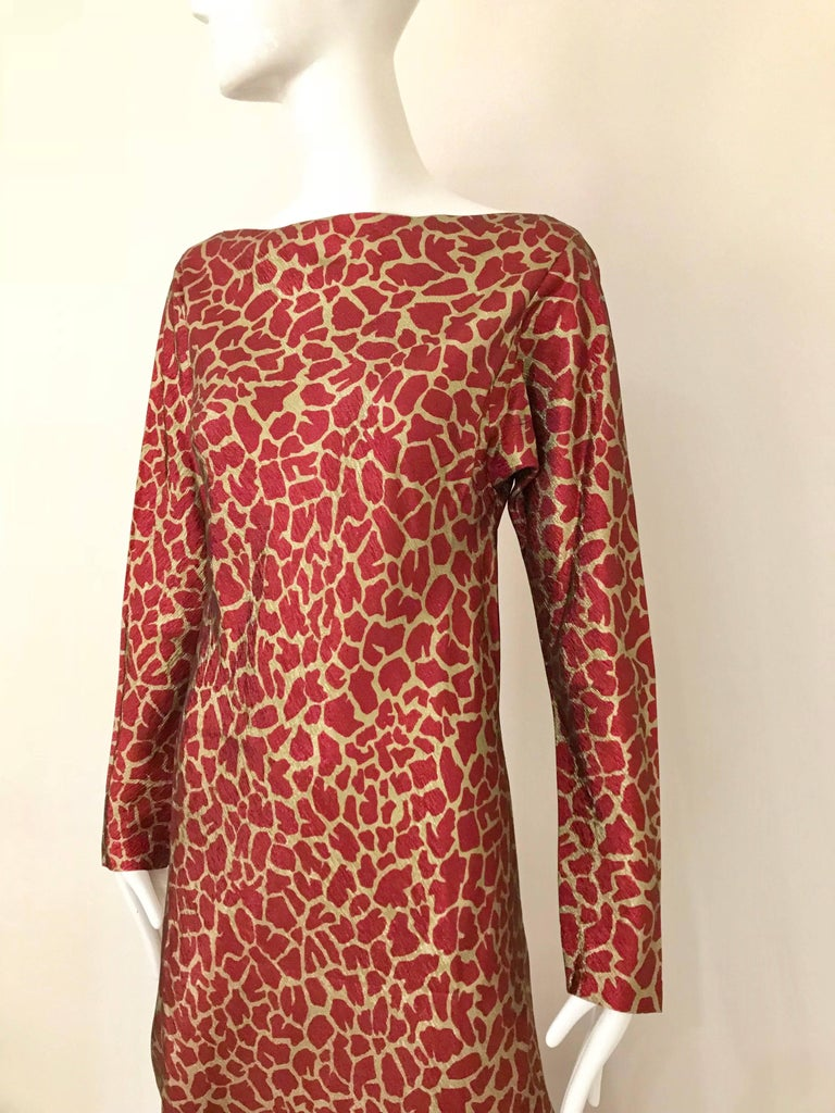 HALSTON 1970s Red and Gold Metallic Print Silk Lamè Bias Cut Dress 2