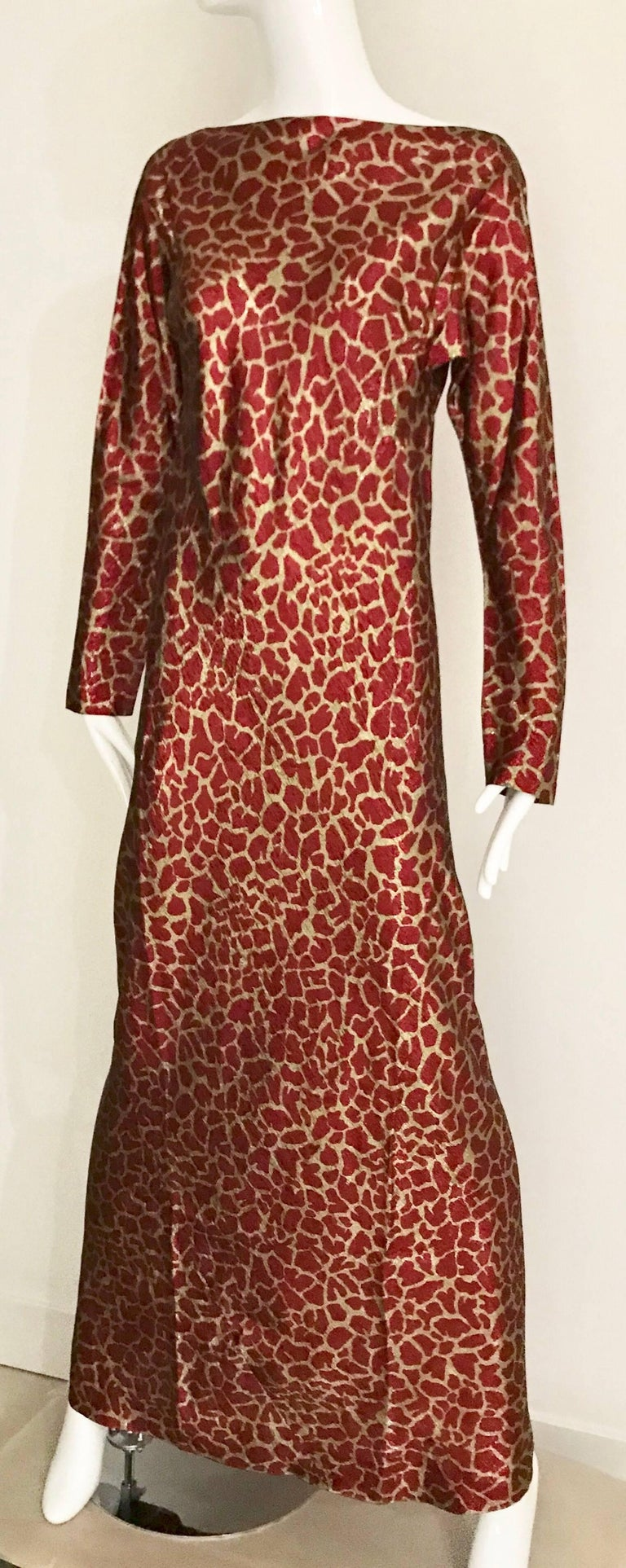 HALSTON 1970s Red and Gold Metallic Print Silk Lamè Bias Cut Dress 3