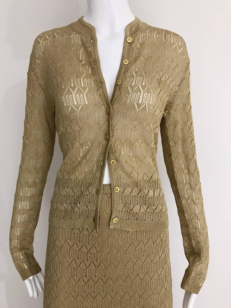 Brown Christian Dior Gold Knit Cardigan Skirt Set For Sale
