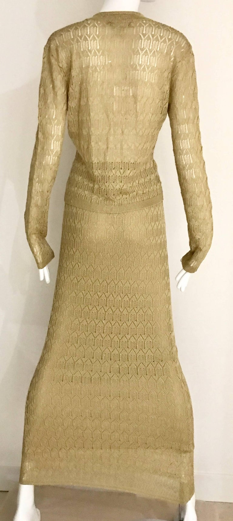Christian Dior Gold Knit Cardigan Skirt Set For Sale 1