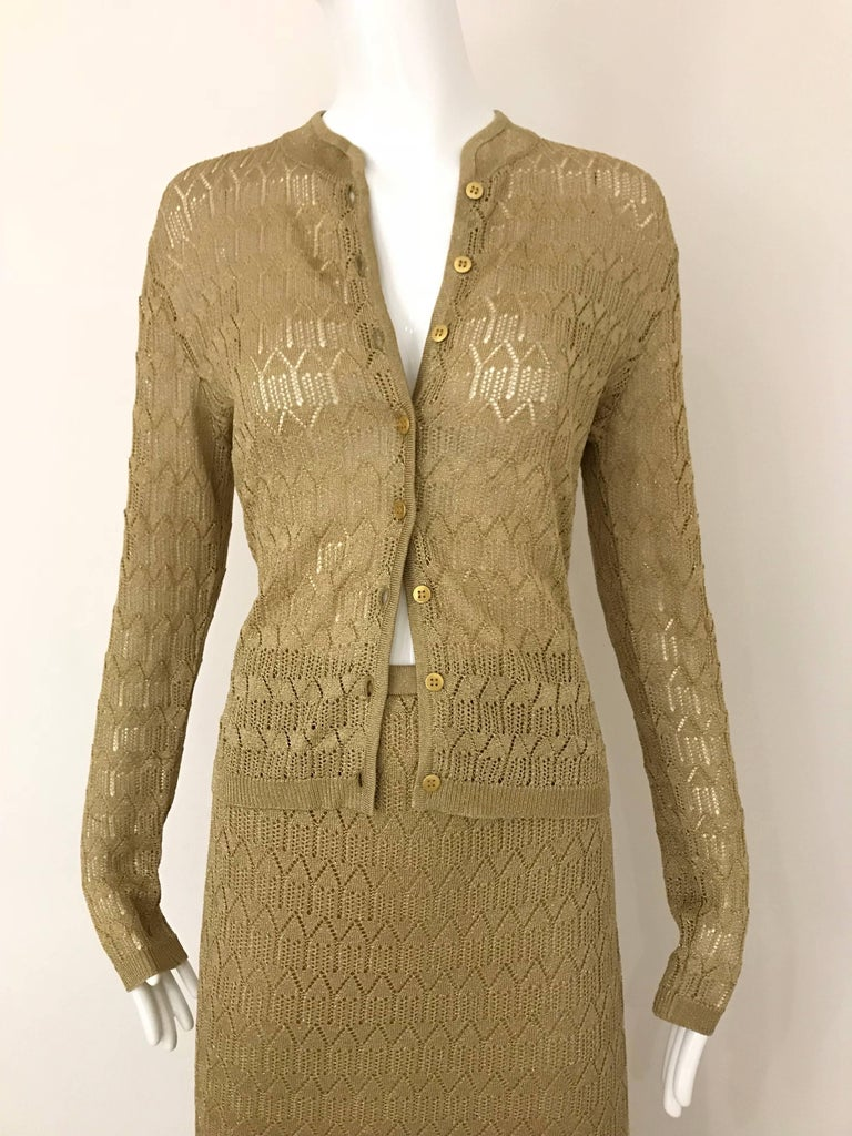 Christian Dior Gold Knit Cardigan Skirt Set For Sale 2