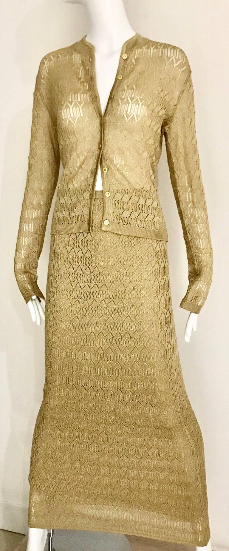 Christian Dior Gold Knit Cardigan Skirt Set In Excellent Condition For Sale In Beverly Hills, CA