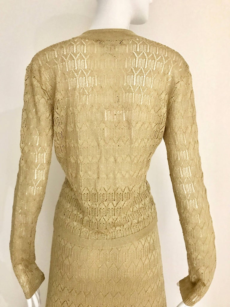 Women's Christian Dior Gold Knit Cardigan Skirt Set For Sale