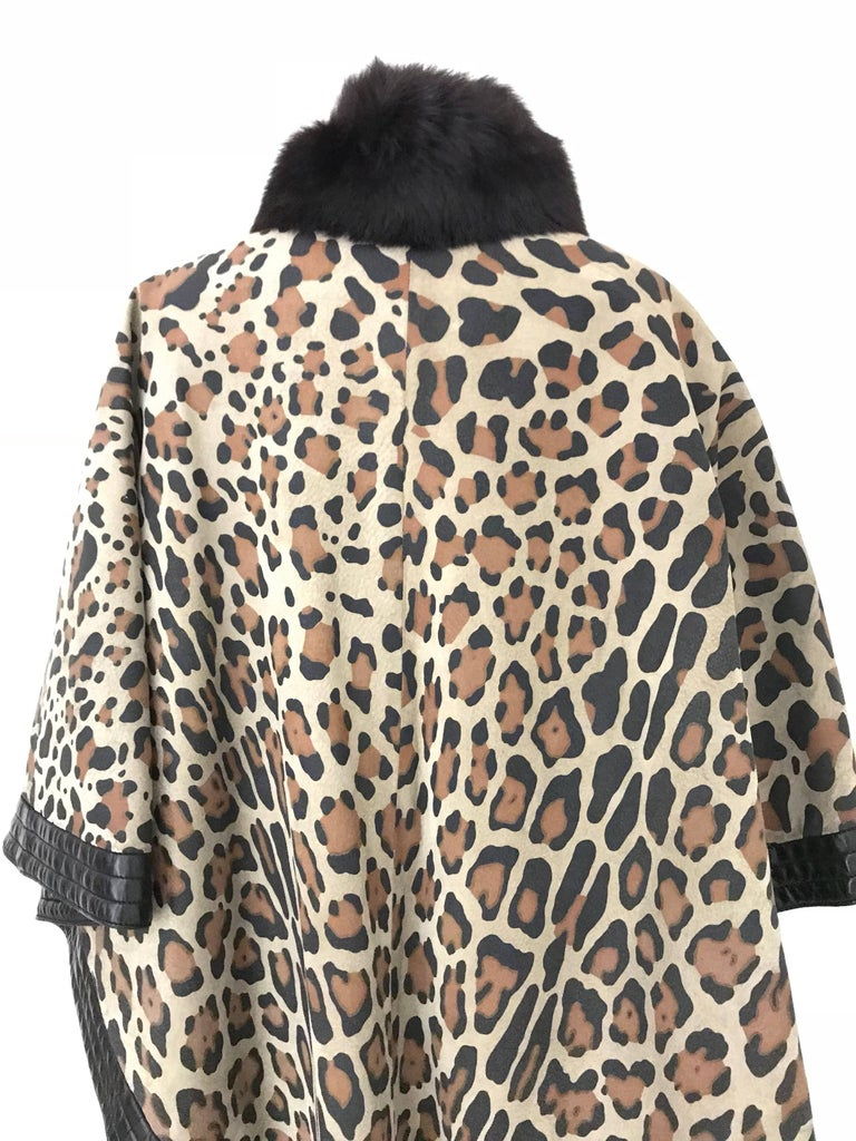 Black 1970s Christian Dior Suede Leopard Print Cape with Fox Fur Collar For Sale