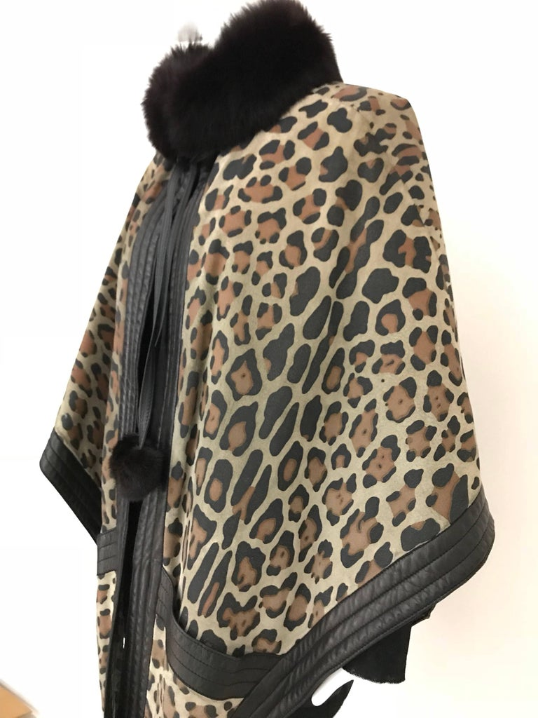 1970s Christian Dior Suede Leopard Print Cape with Fox Fur Collar In Good Condition For Sale In Beverly Hills, CA