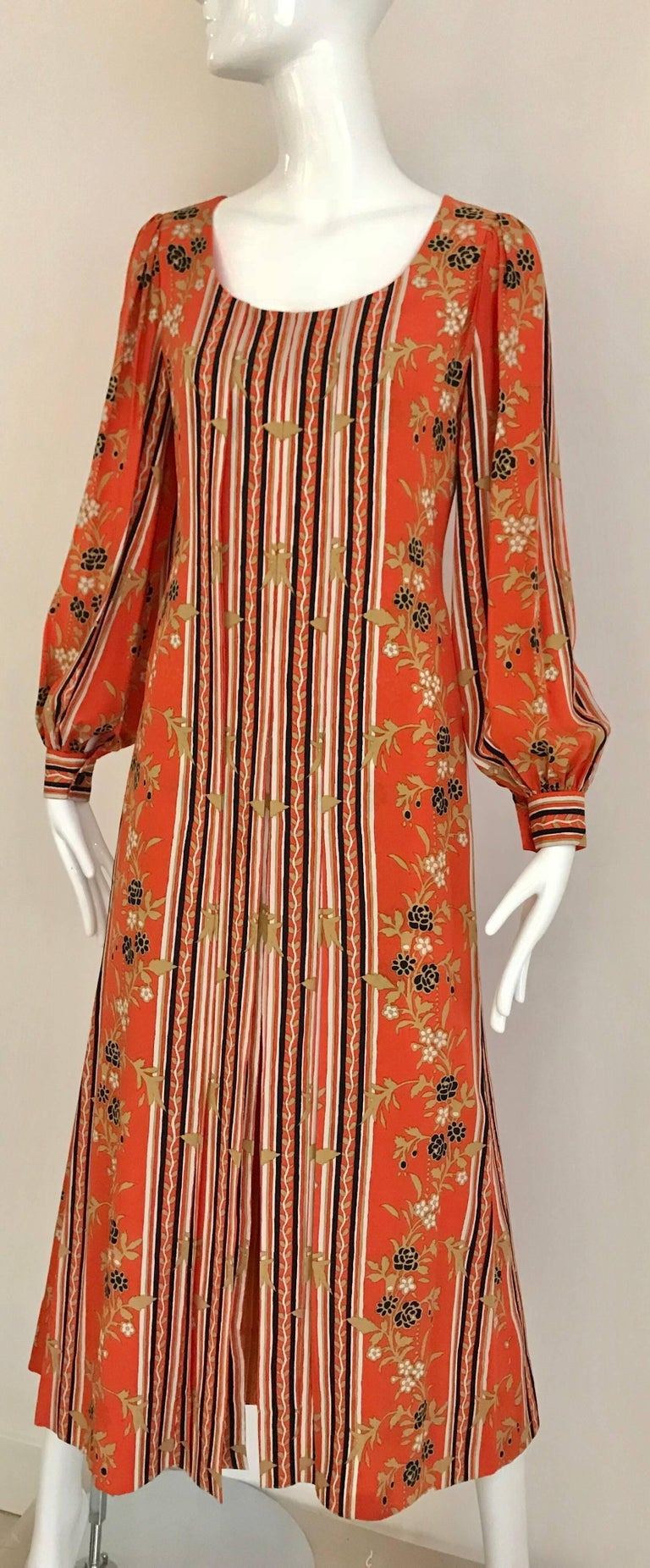Brown 1970s GALANOS Orange and Black Floral Silk Print Dress with Vest  For Sale