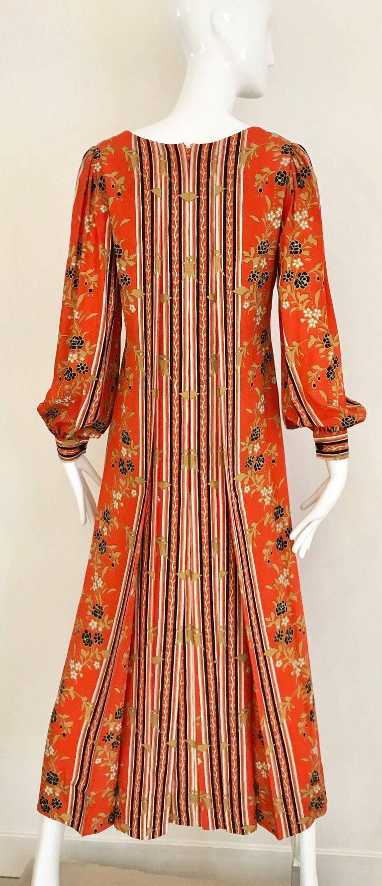1970s GALANOS Orange and Black Floral Silk Print Dress with Vest  In Good Condition For Sale In Beverly Hills, CA