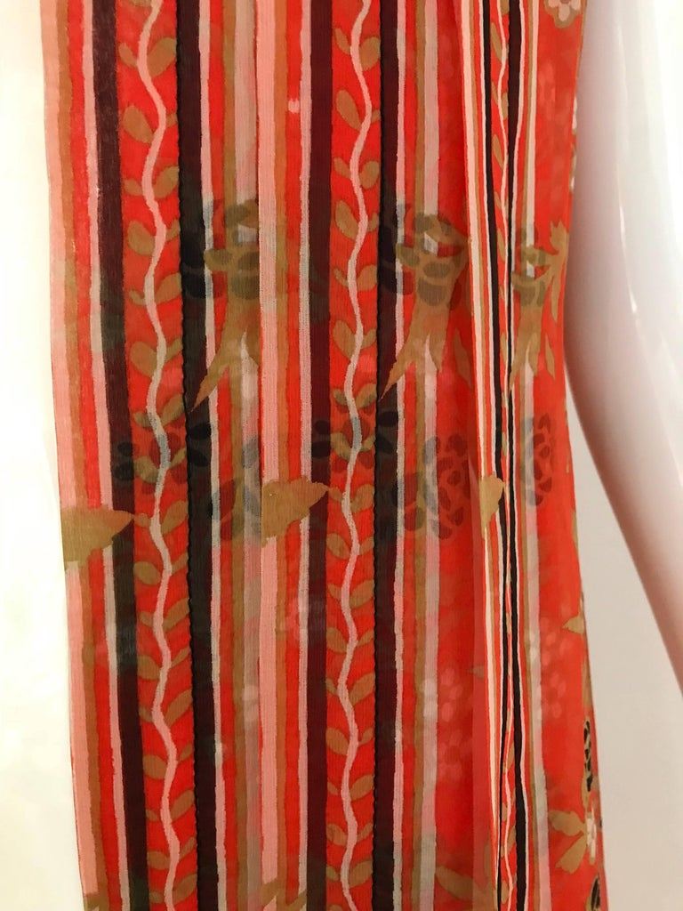 1970s GALANOS Orange and Black Floral Silk Print Dress with Vest  For Sale 1