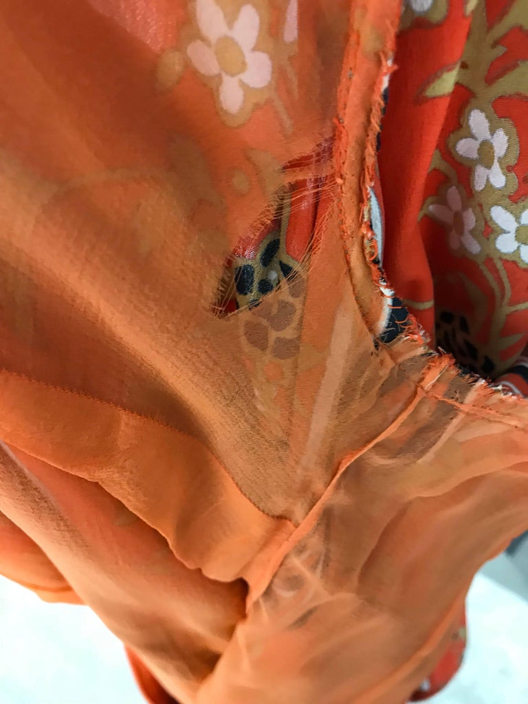 1970s GALANOS Orange and Black Floral Silk Print Dress with Vest  For Sale 4