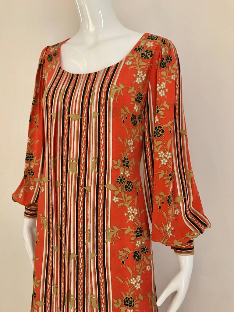 1970s GALANOS Orange and Black Floral Silk Print Dress with Vest  For Sale 5