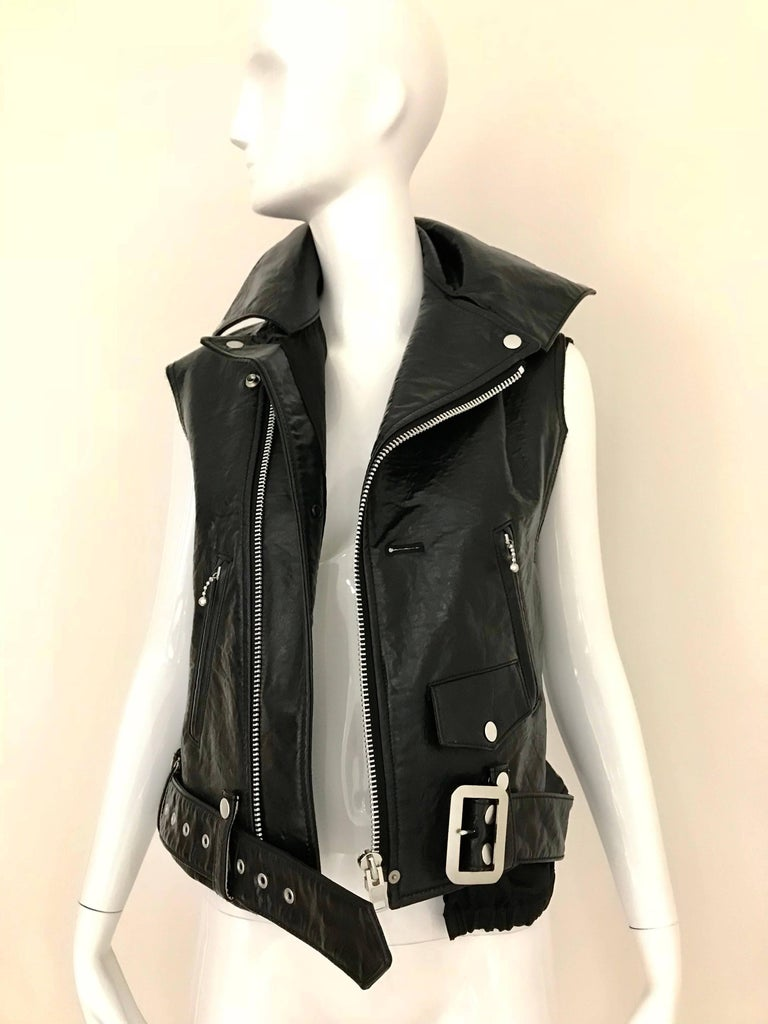 Junya Watanabe Avant Garde Black japaDeconstructed Leather Vest with zipper and belt. Marked size: small. fit US 2/4/6
