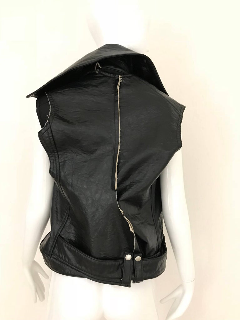 Women's Junya Watanabe Black  Deconstructed Leather Vest For Sale