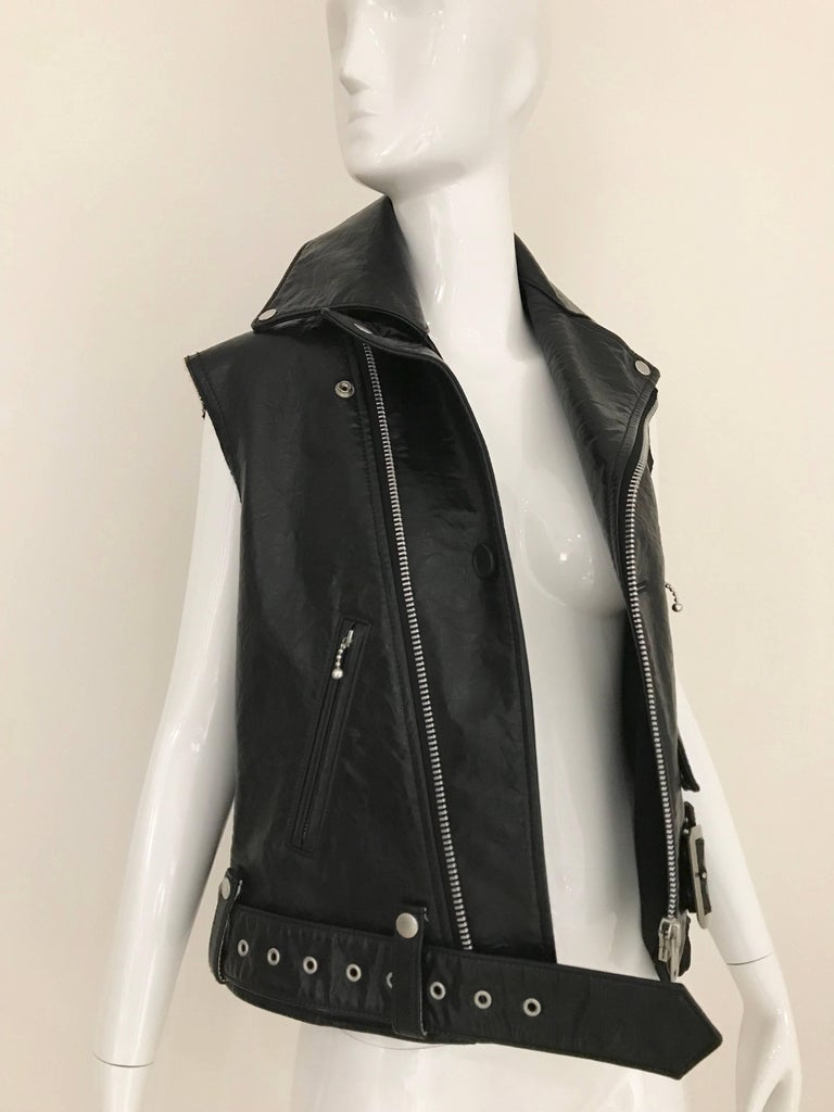 Junya Watanabe Black  Deconstructed Leather Vest For Sale 1