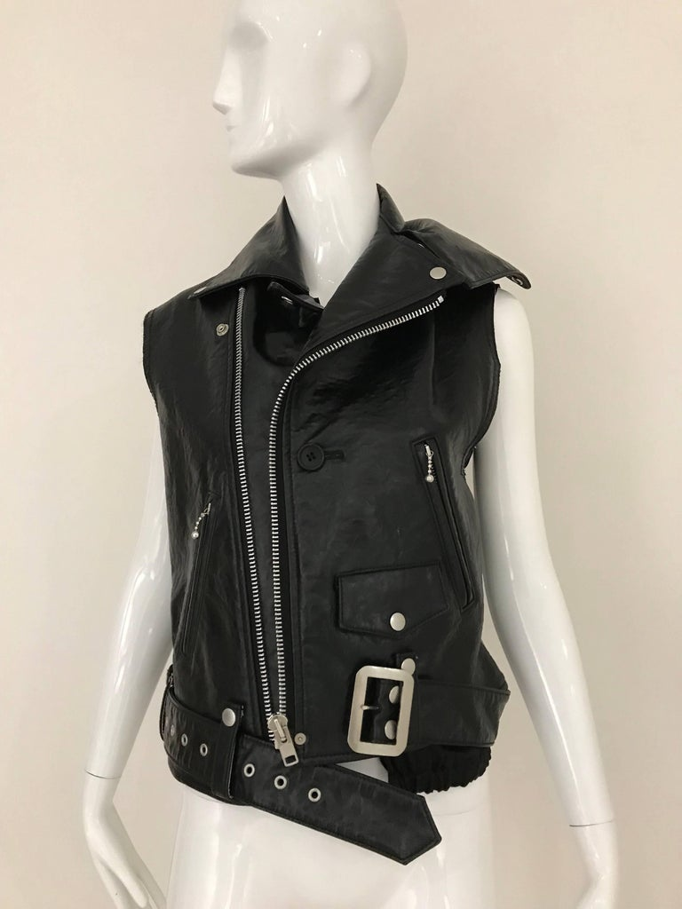 Junya Watanabe Black  Deconstructed Leather Vest For Sale 2