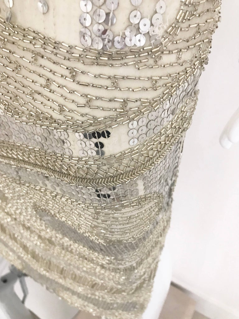 Halston Vintage Creme Sequin Beaded Dress In Good Condition For Sale In Beverly Hills, CA
