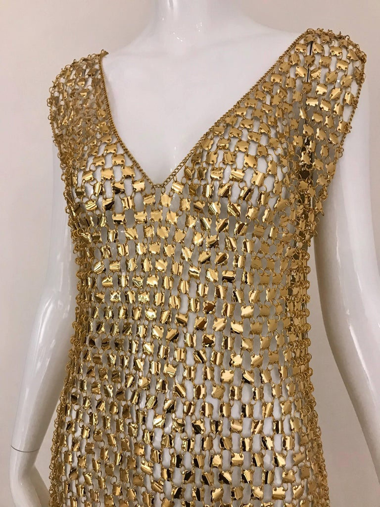 Sexy Paco Rabanne aluminum chain mail v neck maxi dress . Perfect for studio 54 party. Dress is very light. You can dance around with it! Slip on dress. Size: This piece fit size 2/4/6/8