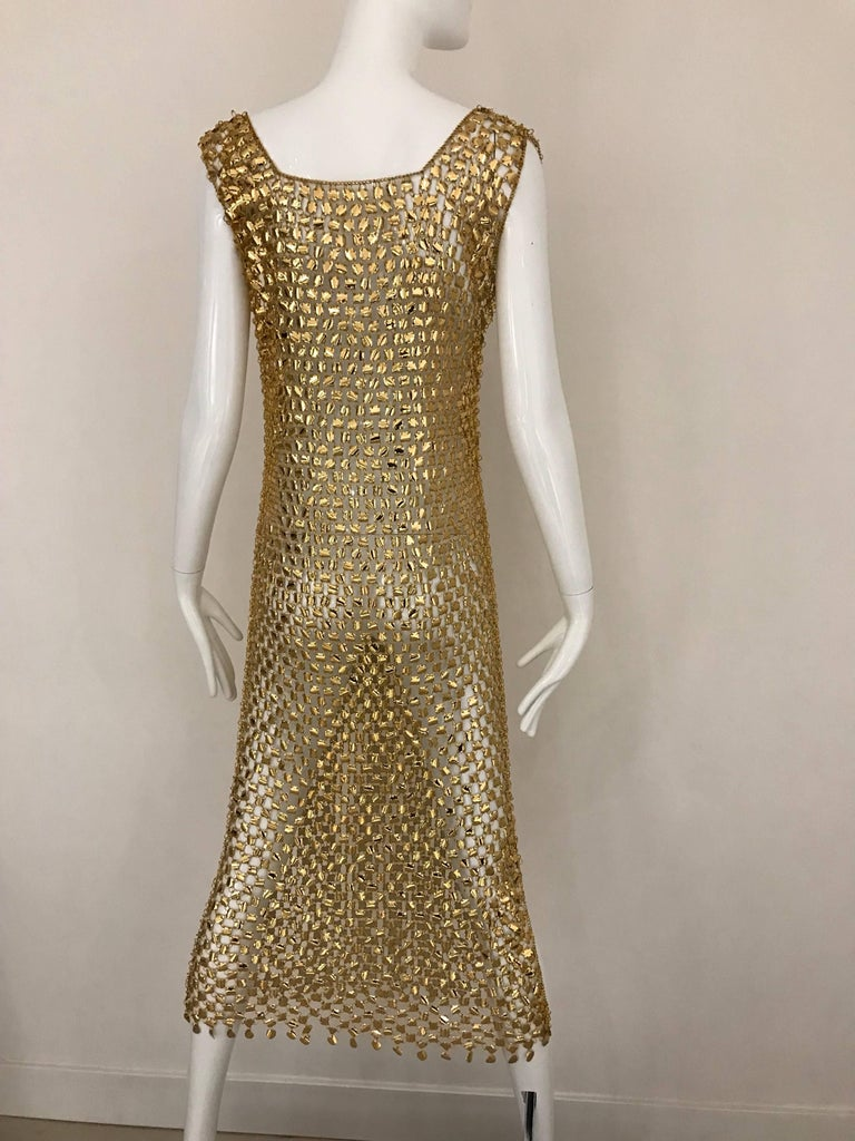 1970s Paco Rabanne Gold Chain Maxi  Dress                  In Excellent Condition For Sale In Beverly Hills, CA