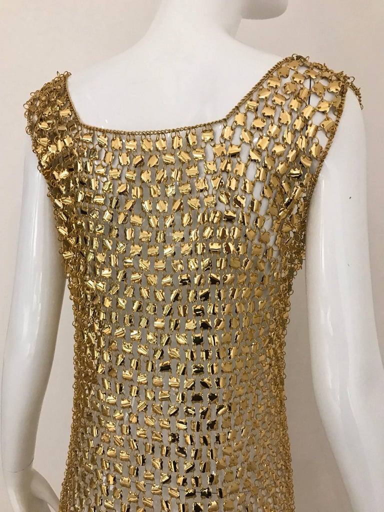 Women's 1970s Paco Rabanne Gold Chain Maxi  Dress                  For Sale