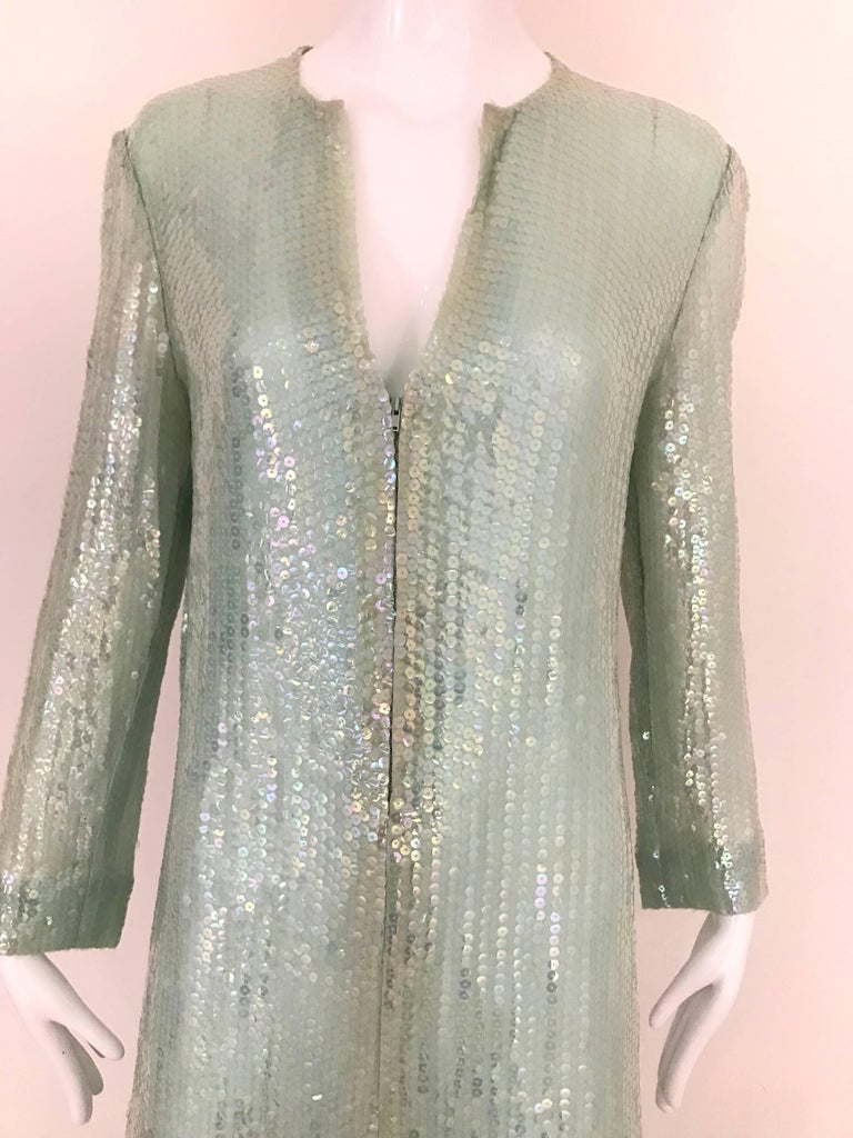 Gray 1970s HALSTON Minty Green Iridescent Sequin Kaftan Dress  For Sale
