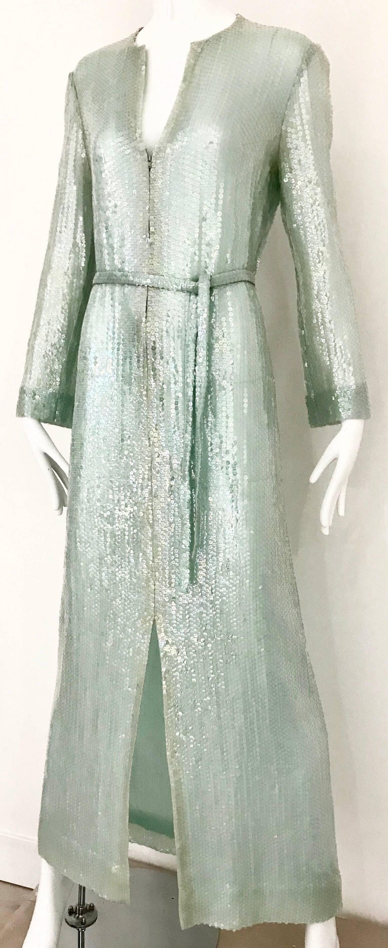 1970s HALSTON Minty Green Iridescent Sequin Kaftan Dress  In Good Condition For Sale In Beverly Hills, CA