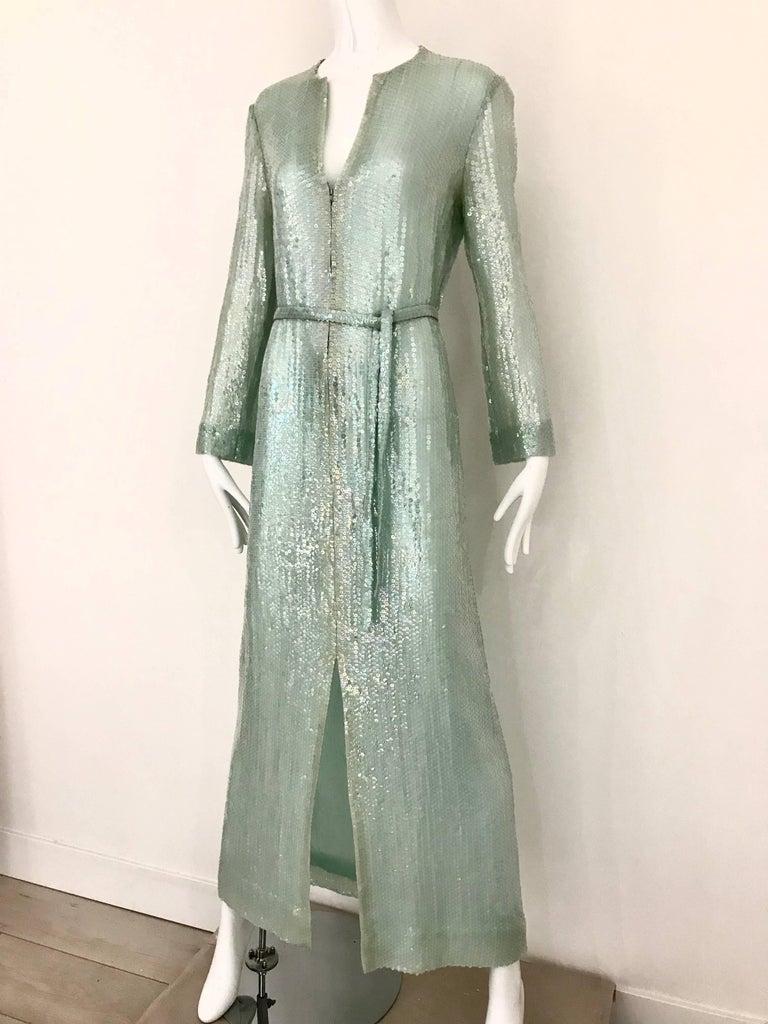 Women's 1970s HALSTON Minty Green Iridescent Sequin Kaftan Dress  For Sale