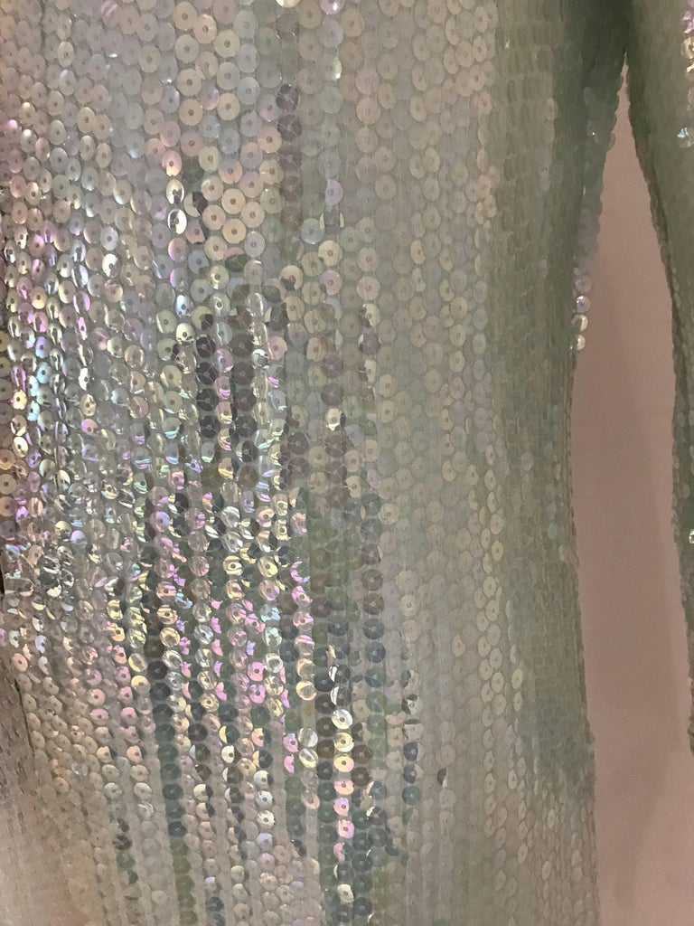 1970s HALSTON Minty Green Iridescent Sequin Kaftan Dress  For Sale 2