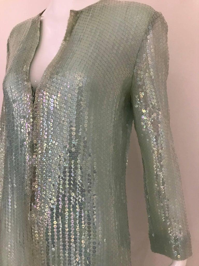 1970s HALSTON Minty Green Iridescent Sequin Kaftan Dress  For Sale 3