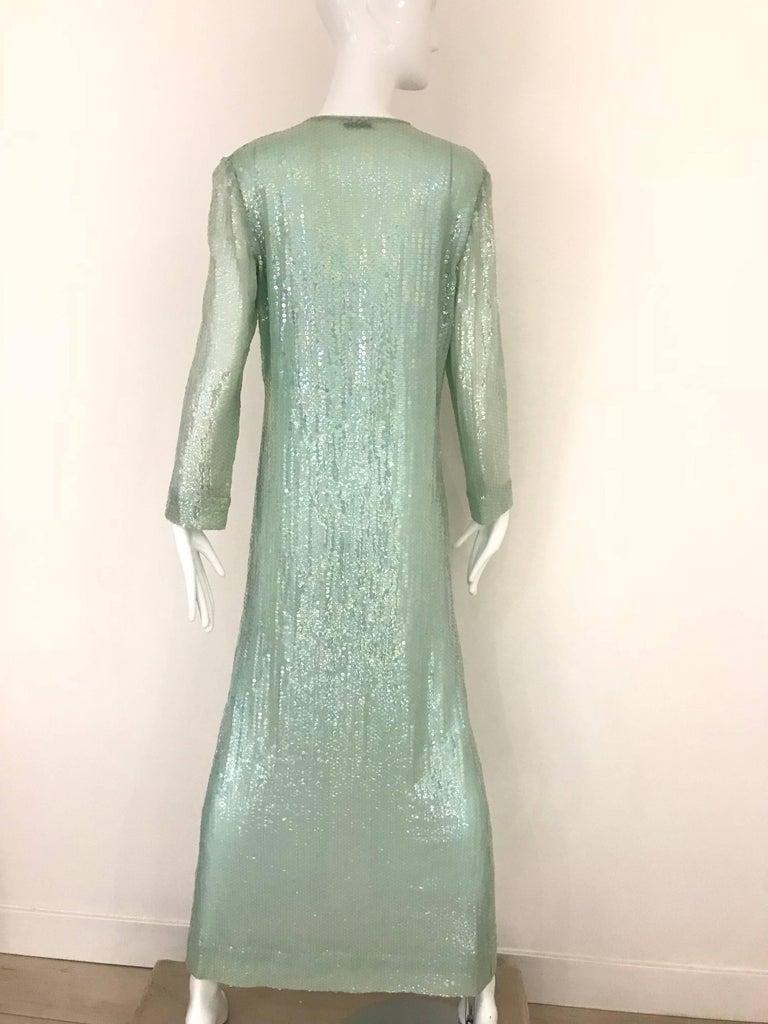 1970s HALSTON Minty Green Iridescent Sequin Kaftan Dress  For Sale 4