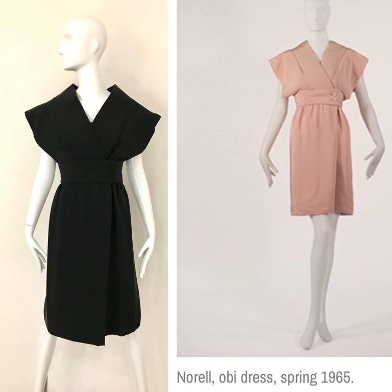 1960s Norman Norell Black Obi Dress  For Sale 1