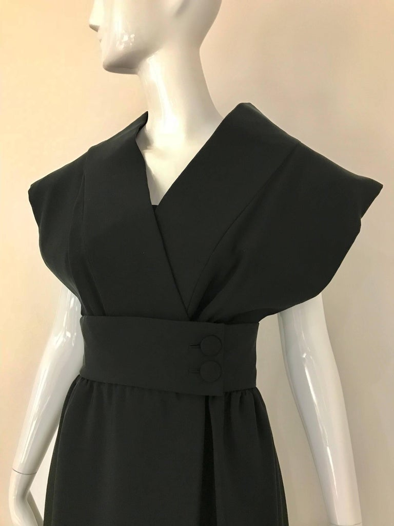 1960s Norman Norell Black Obi Dress  For Sale 4
