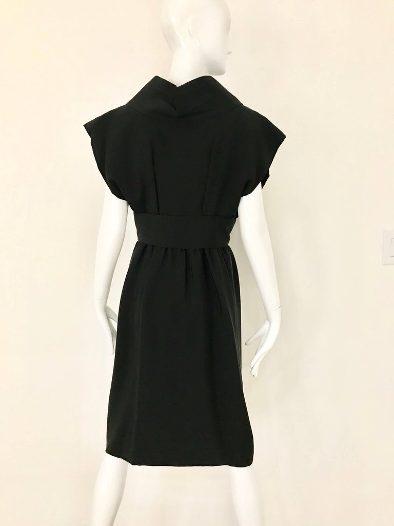 1960s Norman Norell Black Obi Dress  For Sale 6