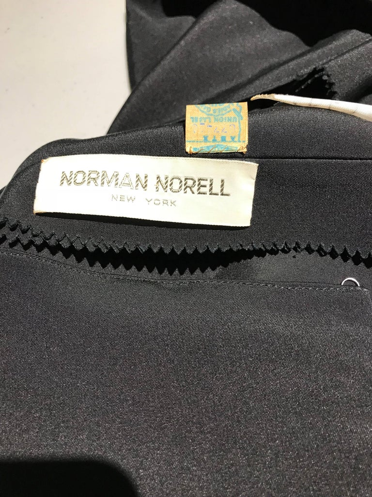 1960s Norman Norell Black Obi Dress  In Good Condition For Sale In Beverly Hills, CA