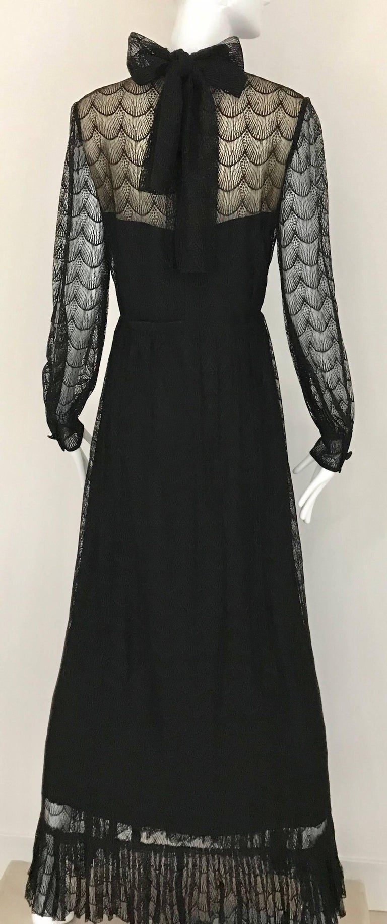 Women's 1970s Givenchy Black Lace Maxi Party Dress For Sale